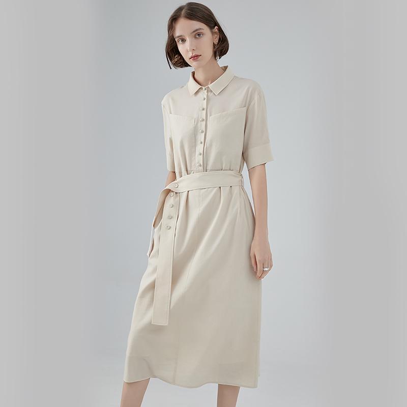 2019 Yeni Bahar Yaz Yaka Kısa Kollu Bej Düğme Gevşek Bandaj Mizaç Gömlek Elbise Kadın Moda Gelgit A921