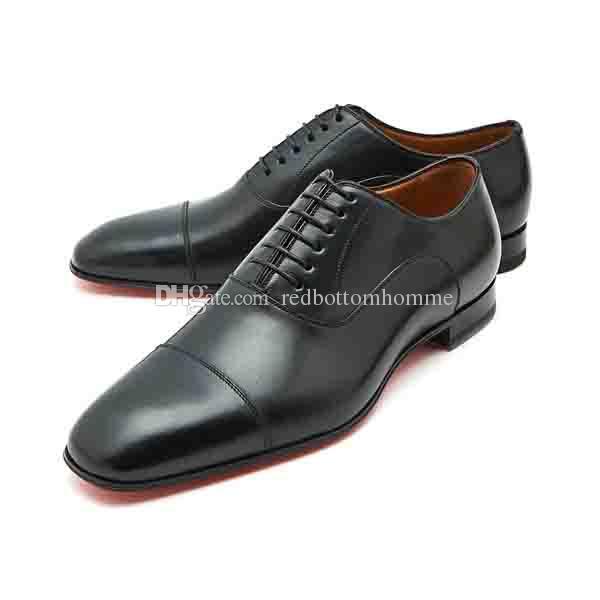 Parte inferior zapatos rojos Gentleman Vestido de fiesta Suela roja Greggo Cap Toe Planos mocasines Oxford Homme para hombres Zapatos para caminar 38-47