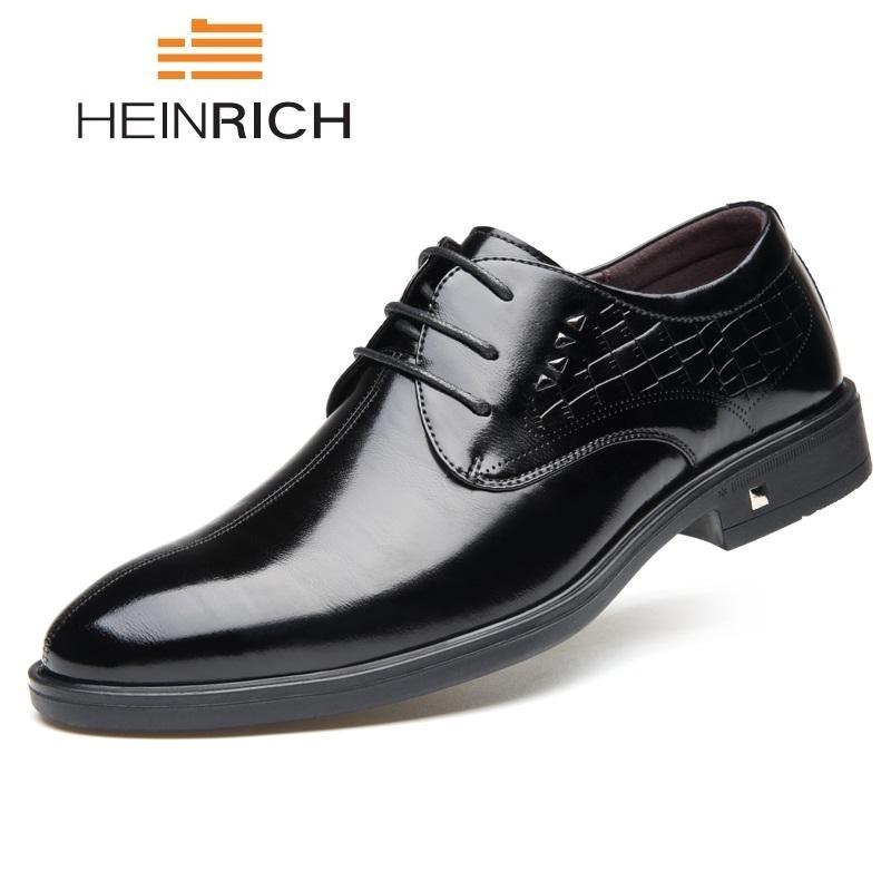 Erkekler Scarpe Uomo Eleganti Chaussure Homme Mariage için HEINRICH İtalyan ayakkabı erkekler Moda Dantel-up Formal Ayakkabı