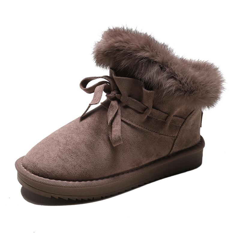 Deri Kar Boots Kadın 2019 Kış Yeni Peluş ve Kalınlaşmış Kısa Çizme Karşıtı Sıcak Pamuk Ayakkabı Moda Kısa Tüp Pamuk Boots Kayma