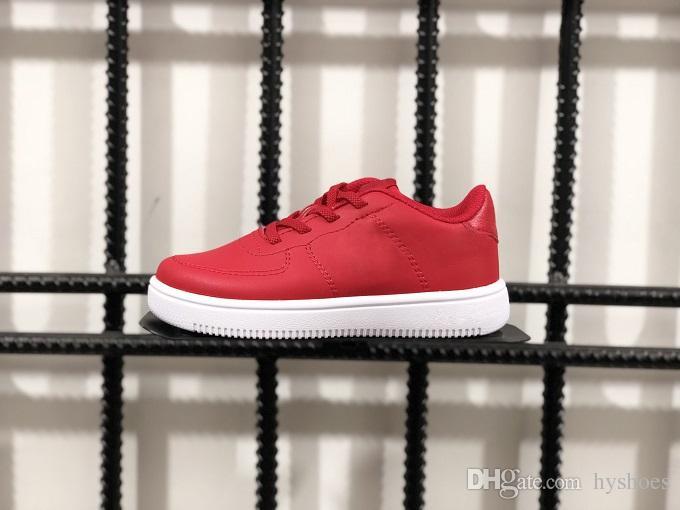 Acheter Nike Air Max Force Fly Solde 2019 Nouveaux Enfants Garçon Low Cut One 1 Chaussures Blanc Noir Dunk Sports Chaussures De Planche À Roulettes