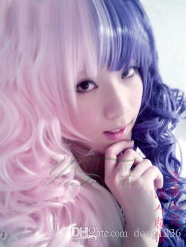 Japanese Anime Lolita Cosplay Two-Tone Curly Wig + Free wigs Hairnet