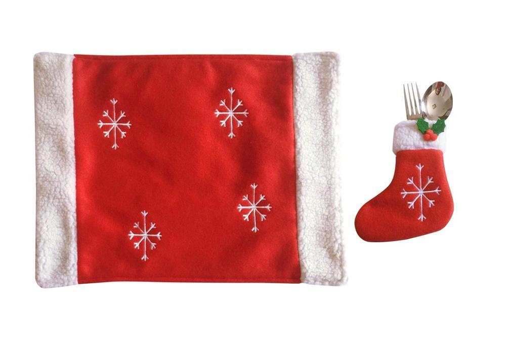 snowflake table decorations.htm christmas snowflake table mat with sock knife   fork bag dining  christmas snowflake table mat with sock