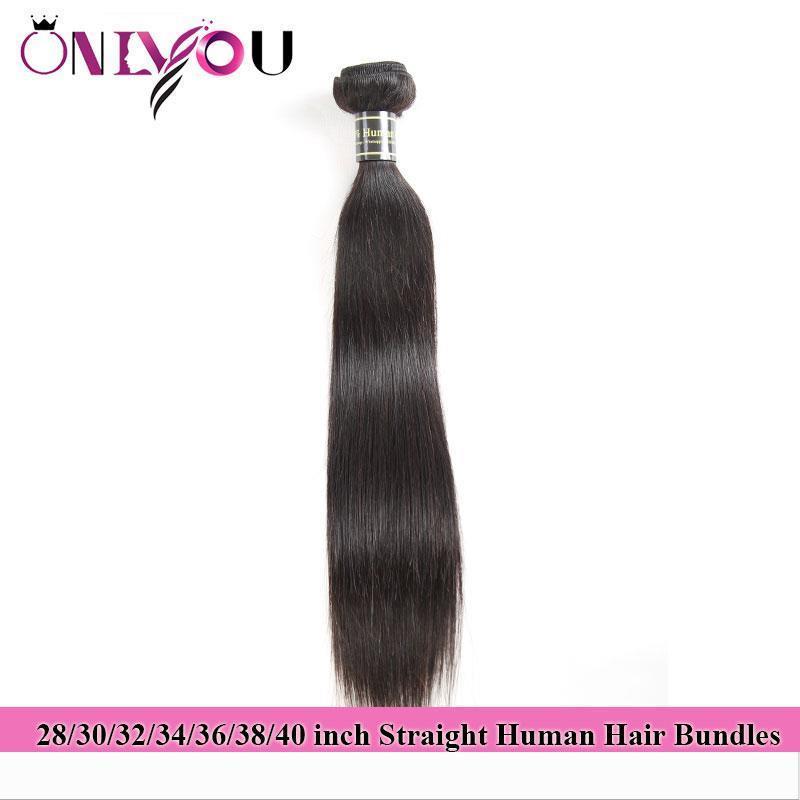 ONLYOU منتجات الشعر الخام الهندي مستقيم الإنسان الشعر حزم 28 30 32 34 36 38 40 بوصة ينسج حزم الشعر العذراء البرازيلي ملحقات