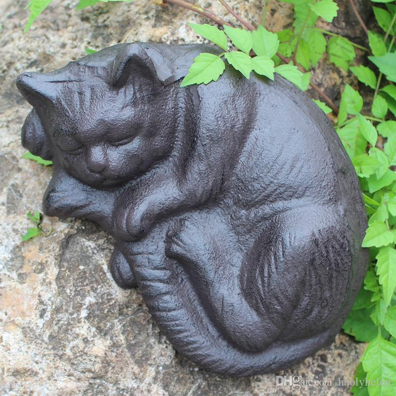 Wrought Iron Sleeping Cat Rural Cast Iron Cat Animal Figurine Brown Cottage Cabin Lodge Yard Garden Outdoor Decor Country Ornament Vintage