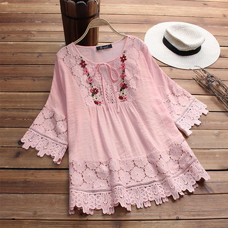 Moda 2019 primavera encaje crochet top mujeres blusa vintage mujer flare casual camisa de manga larga bordado patchwork trabajo blusas
