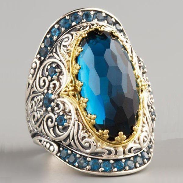Zhenrong souhaite la vente à chaud nouvel anneau de séparation des couleurs Topaze plaqué or 18k européens et américains bague de fiançailles du parti