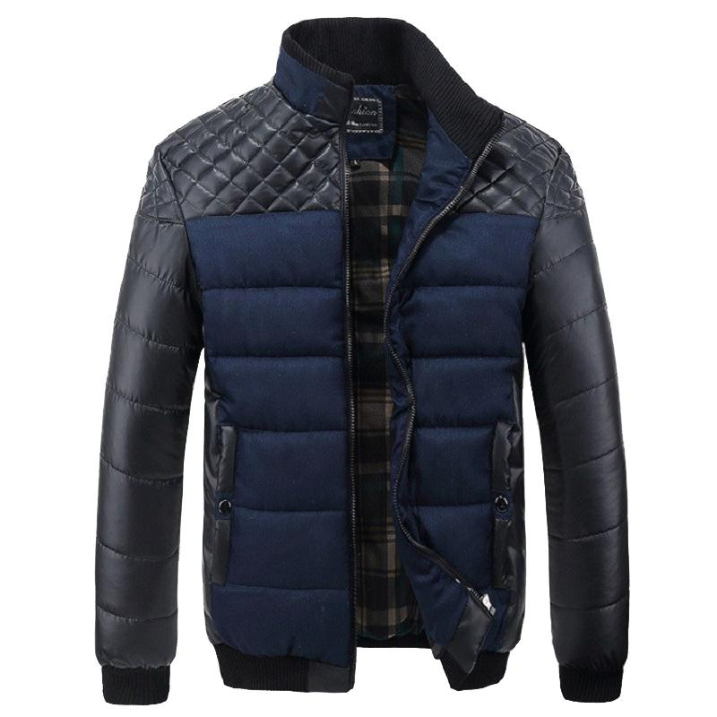 2018 Jackets Men 4XL PU Patchwork Designer Jackets Men Outerwear Casual Quality Slim Fit Winter Fashion Brand Clothing Plus Size