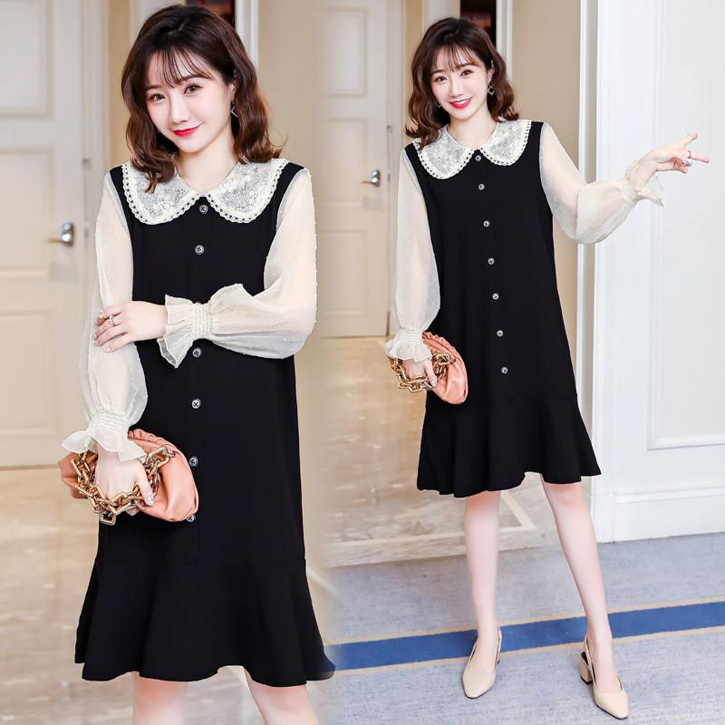 Cotton Spring Dress for Pregnant Women Maternity Summer Clothes for Pregnancy Black Pregnant Dress