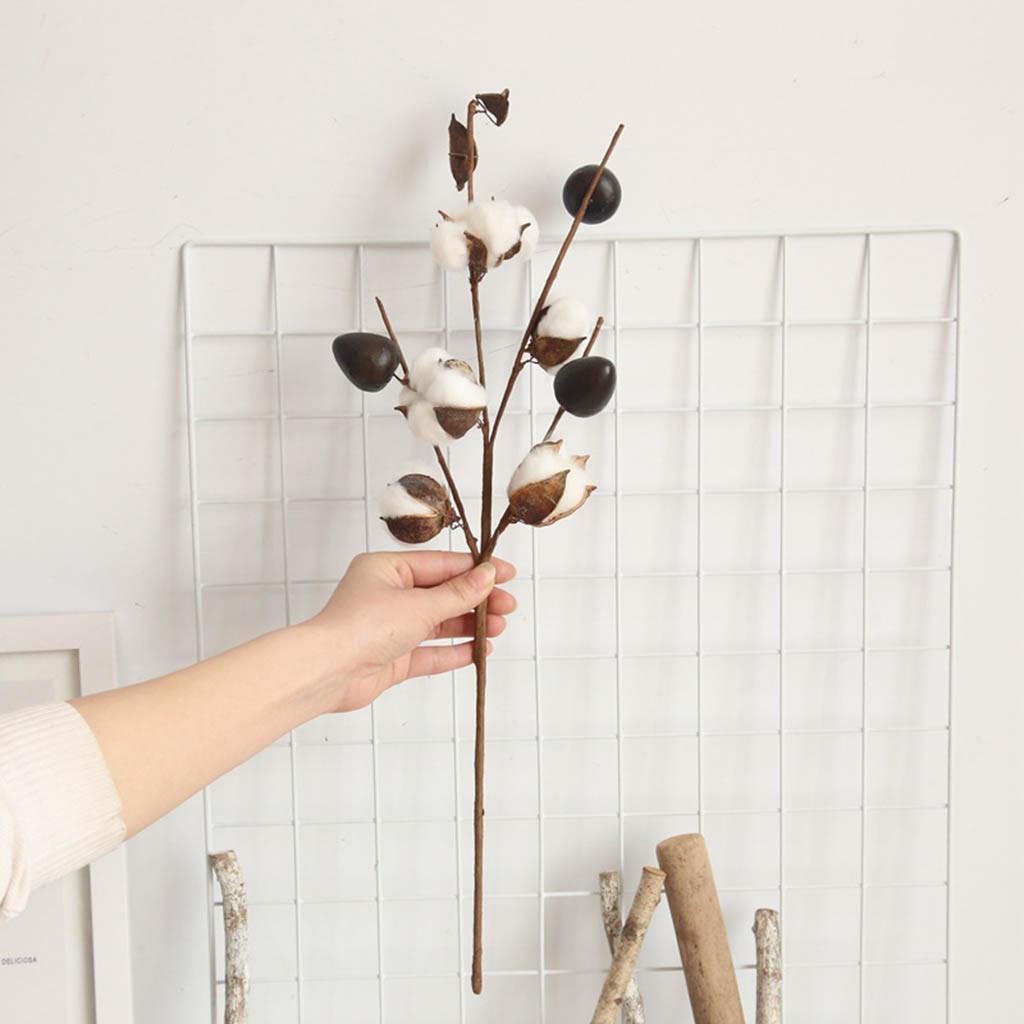 Artificielle de coton naturellement séché de la ferme ferme de la ferme de fleur de fleur floral décor artificiel décor artificiel décor de Noël bricolage