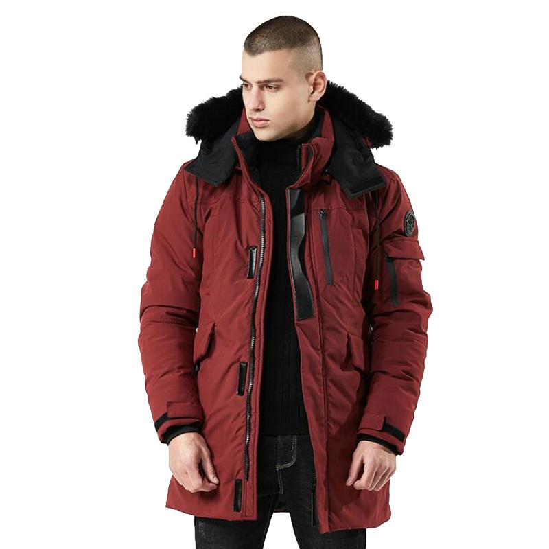 2019 Winter Coat Men Windbreaker Fur Hooded Thicken Jacket Men's Streetwear Trench Coats Long Parka jaqueta masculina