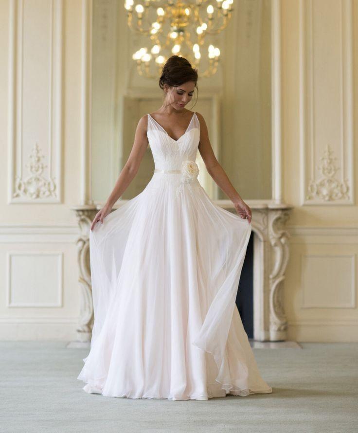 2020 nuovo arrivo eleganti abiti da sposa spiaggia di estate con chiffon con scollo a V Backless fiore fatto a mano sposa abito