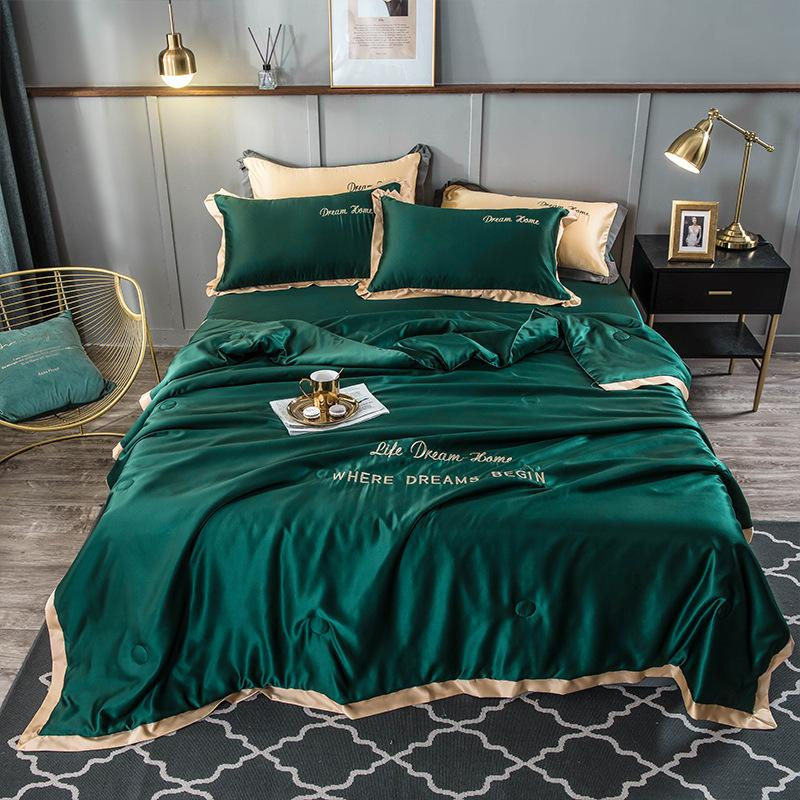 Luxury Red Silk Bedding Set Home Textile King Size Bed Set Bedclothes Duvet Cover Flat Sheet Pillowcases FB2005005