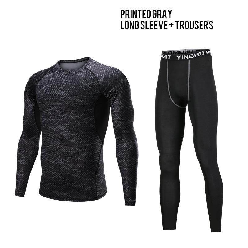 2adet Erkekler Spor Suit Baskılı Nefes Pantolon + T-shirt Erkek Hızlı kuruyan Eğitim Elastik Set Koşu Spor Set