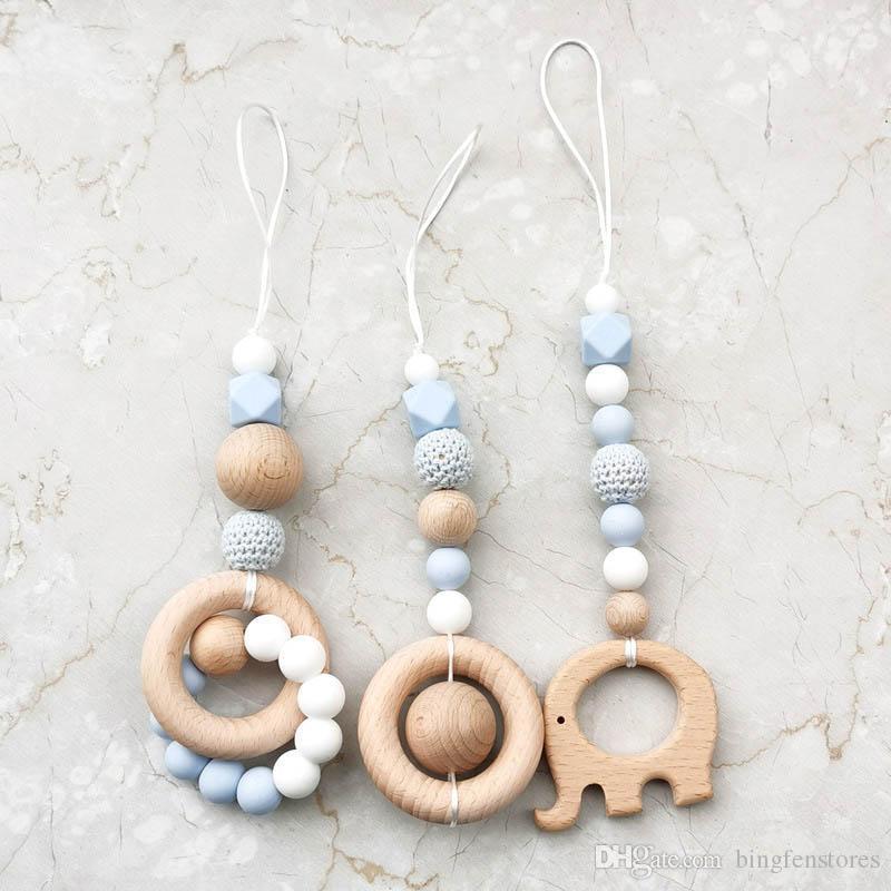 Baby Bite Chew Wooden Beads DIY Teether Nursing Pendants Toys Rattle Teether