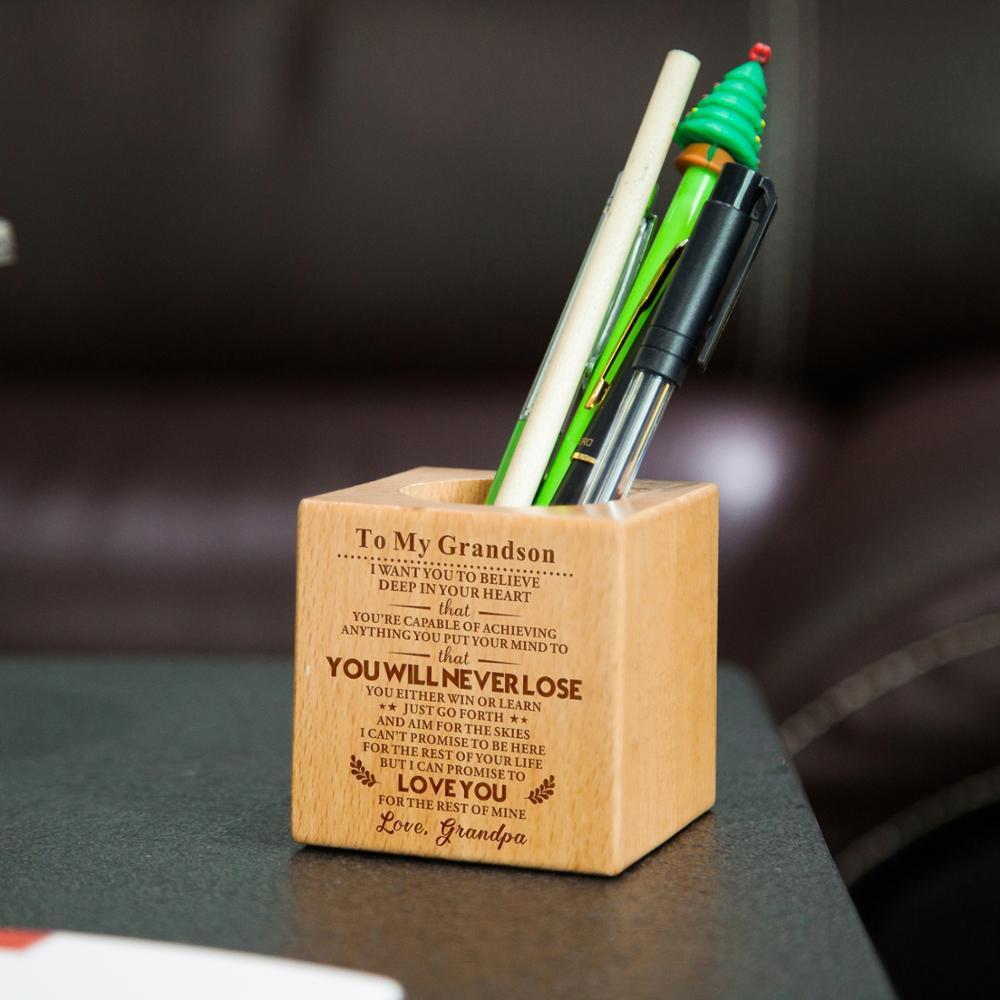 할아버지 손자에 조각 다기능 크리 에이 티브 나무 만든 책상 편지지 주최자 펜 연필 홀더 스토리지 박스 케이스 Squ