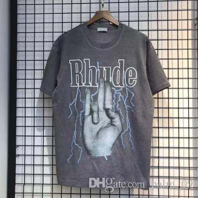 여름 스타일 Rhude 손가락 티 머 금고 반팔 T 셔츠 남성 힙합 100 %면 씻어 대형 오프 블랙 남성 디자이너