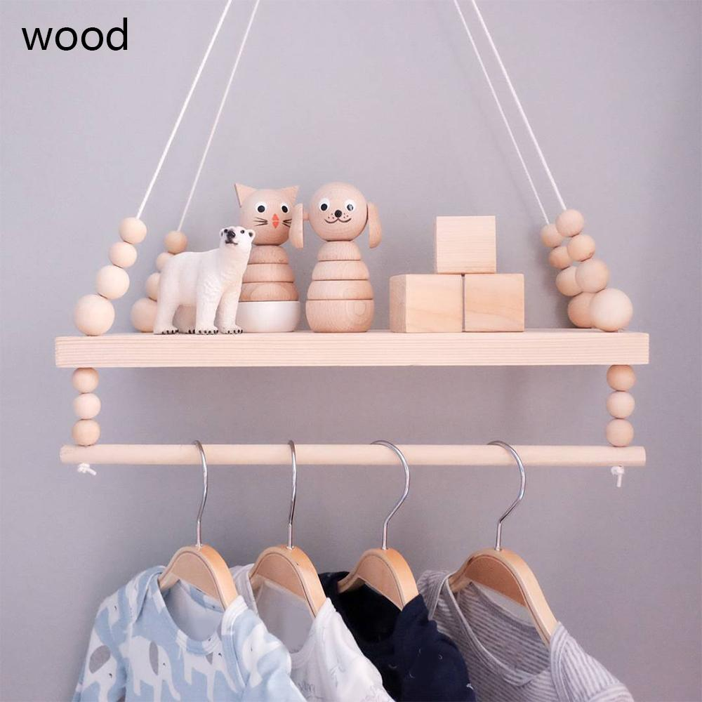 Handcrafted Shelf Kids Room Hanging Bead Shelf Nordic Style Nursery Decoration Wall Shelves Girls Clothes Storage Hanging Rack T200320