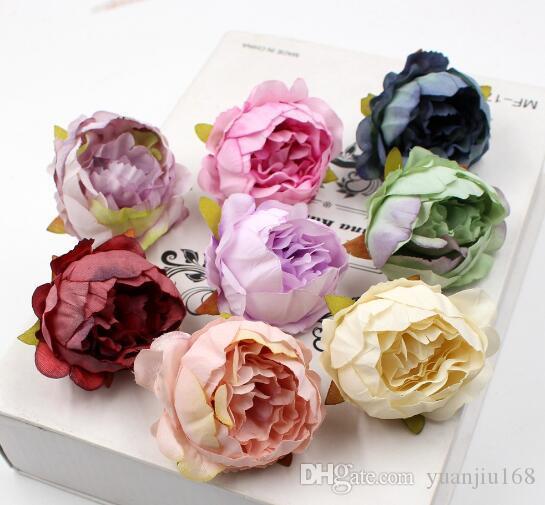 Europeo, Rosa, Decoración del arte de DIY la decoración del hogar del paisaje Simulación Pequeño Peony Cabeza de flor WL648
