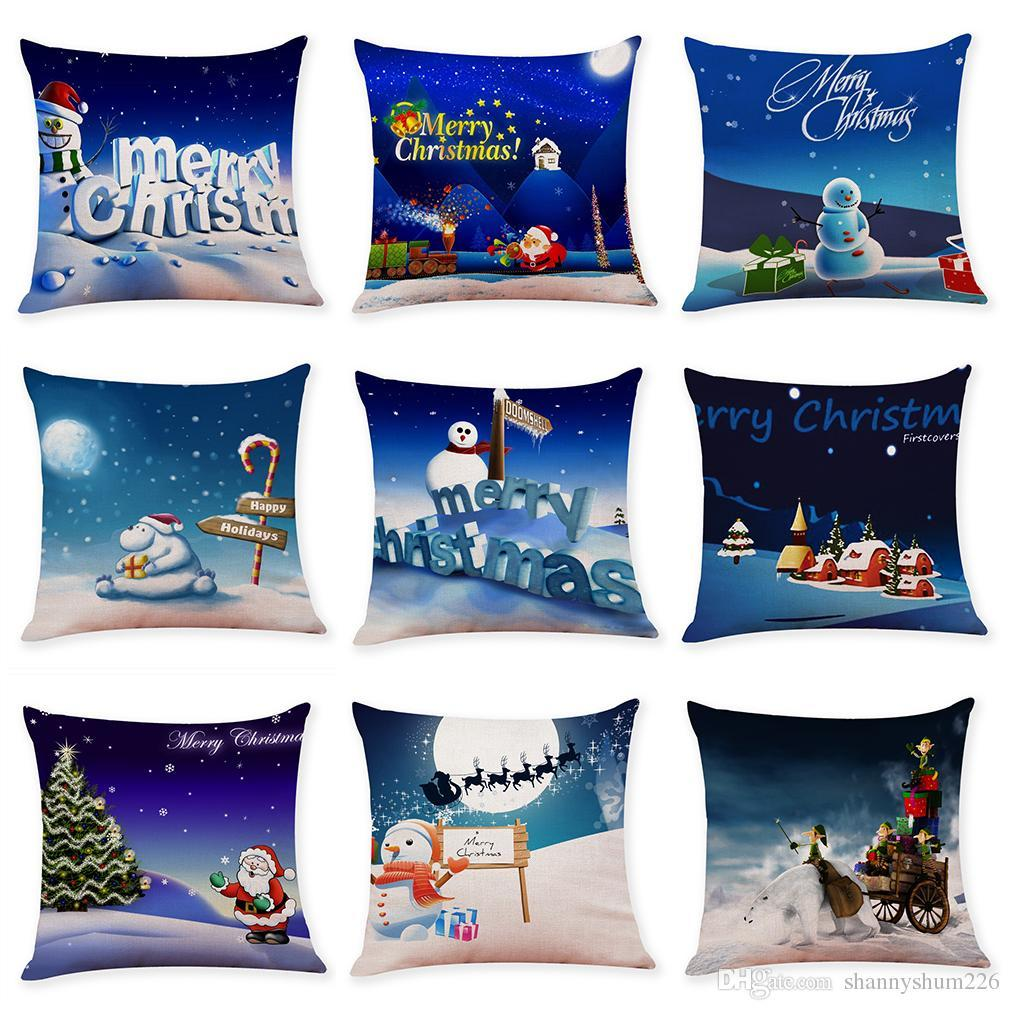 New Merry Christmas Happy Holidays Linen Cushion Covers Home Office Sofa Square Pillow Case Decorative Pillow Covers (18*18inch)
