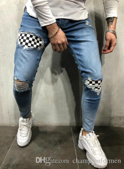 Mens Pencil Jeans Knee Holes Spring Autumn Designer Pantalones Street Skateboard Pencil Pants Males Clothing