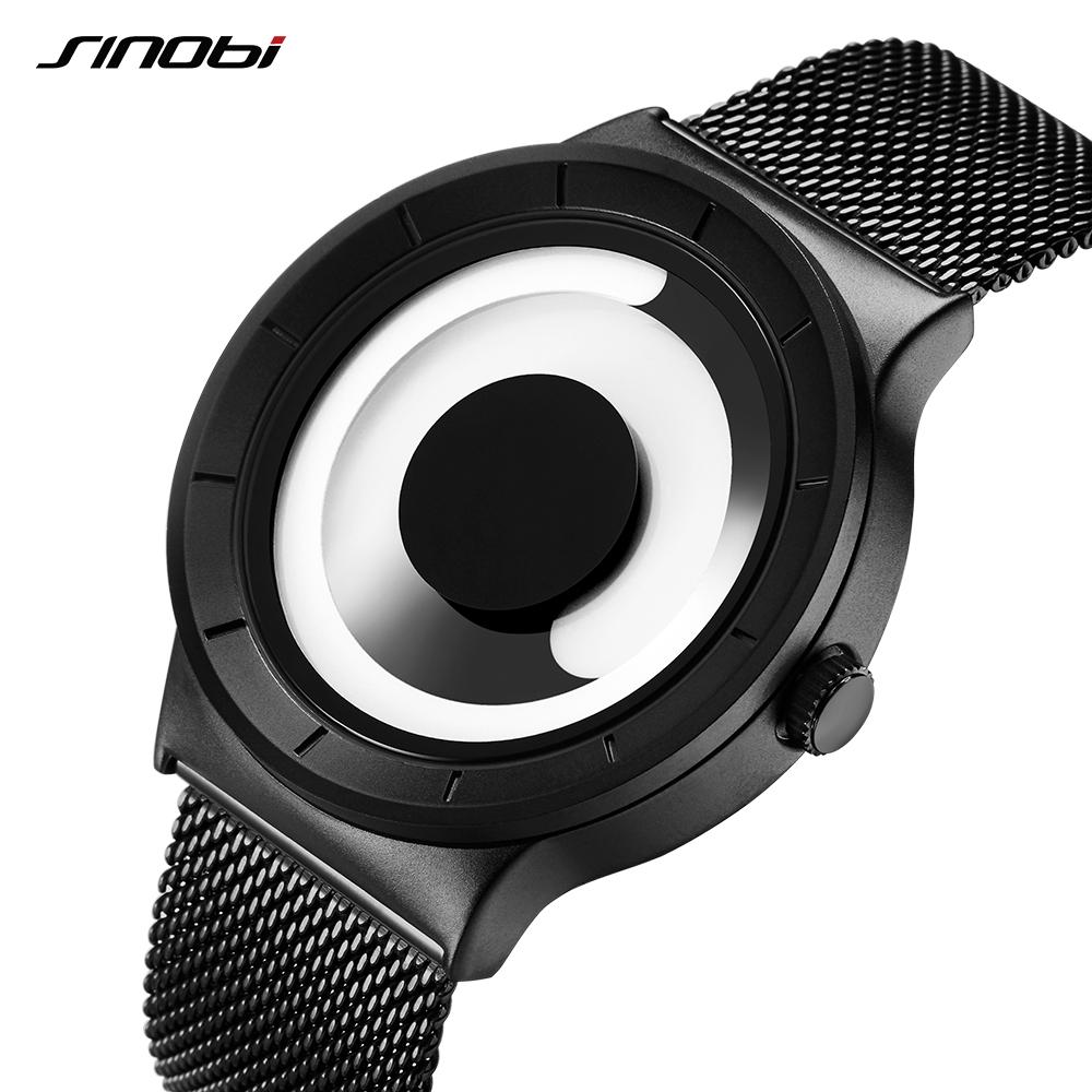 Casual sinobi Vortex hombres de los relojes del deporte de alta calidad en acero inoxidable retro Milanese moderna banda creativo único Negro Reloj de pulsera