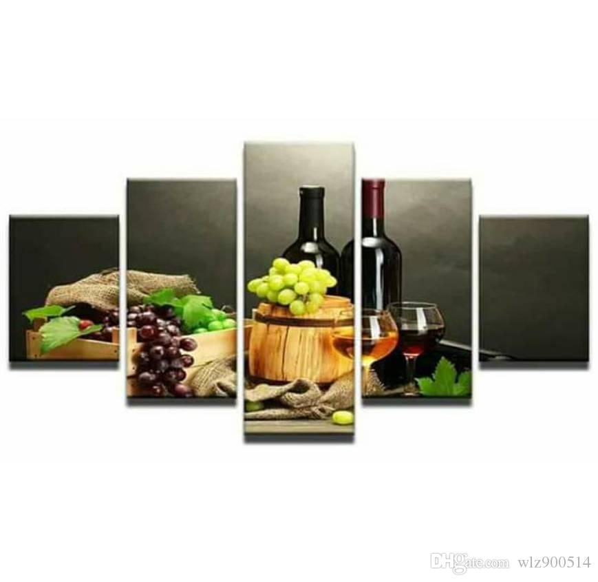 5pcs Canvas Photo Prints Grapes and Wines Artwork Wall Art Picture for Living Room Bedroom Wall Decorations Home Decor No Frame
