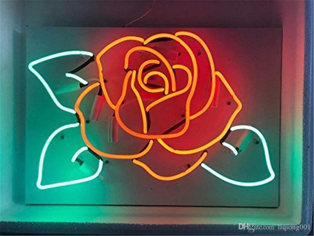 New Star Neon Sign Factory 17X14 Zoll Real Glass Neon Sign Licht für Bier Bar Pub Garage Zimmer Rose Blume.