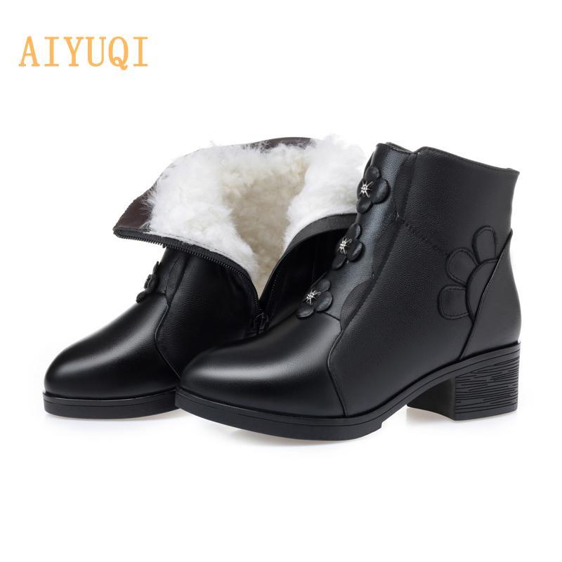 2020 nueva ronda Cabeza cargadores del tobillo de las mujeres del tamaño grande de cuero auténtico de lana corto botas de invierno de las mujeres para