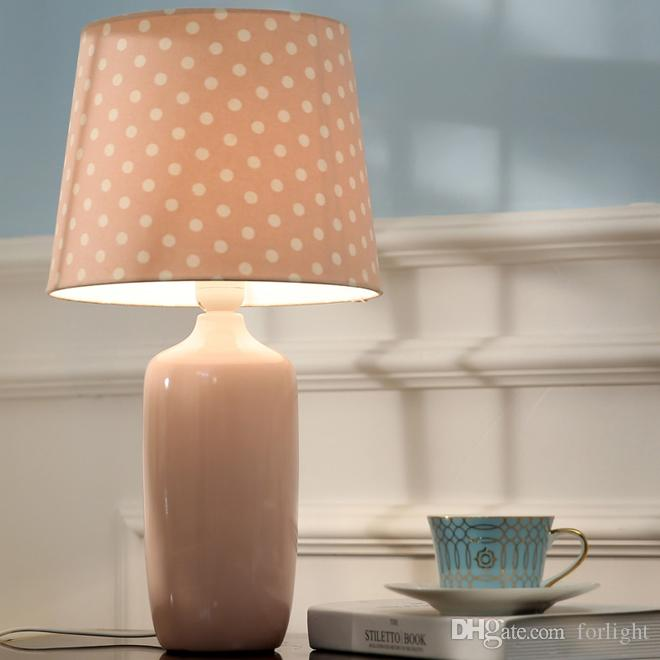 New design contemporary creative luxury D 26cm x H 48cm ceramic table lamps with fabric lampshade led desk light for bedroom study room