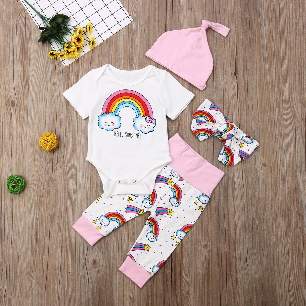 2019 nuovo modo 0-18M Newborn 4PCS / Set del ragazzo della neonata del fumetto del pagliaccetto Tops pantaloni lunghi fascia Hat Outfit Abbigliamento