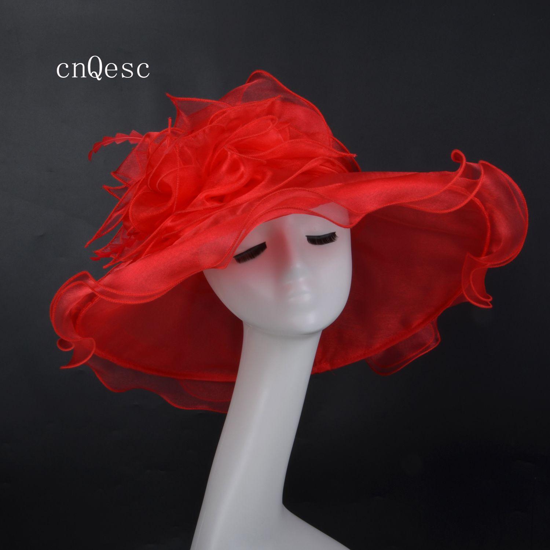 2019 Red Large tesa di cristallo Organza Hat Net cappello per Kentucky derby Ascot chiesa razze di nozze festa w / feahers