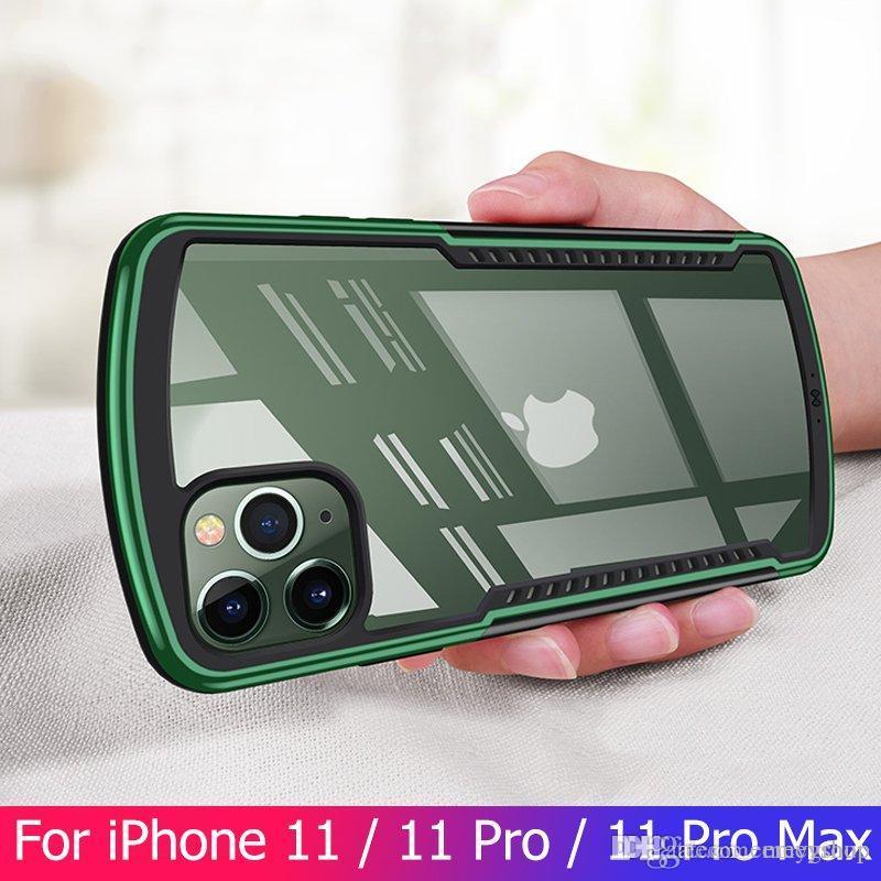 Designer de luxo à prova de choque iPhone Capa Para 11 Pro Max x xs max 7 8 mais Caso Bumper Airbag tampa cleaar protetor de tela do vidro verde