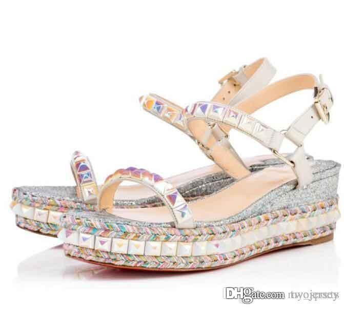 Qualité de fond rouge Cataclou femmes Sandales Goujons femme avec boucle cheville pompes Party Chaussures de mariage