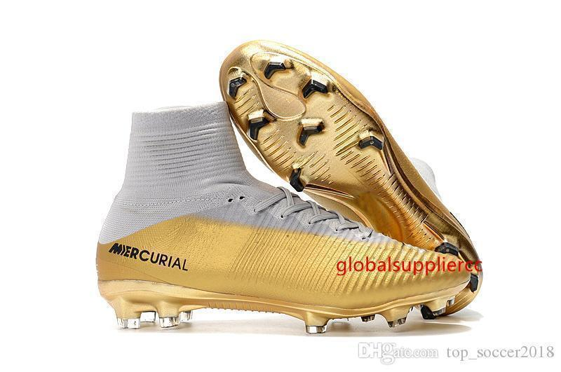White Gold Children CR7 Soccer Cleats Mercurial Superfly Kids Soccer Shoes High Ankle Cristiano Ronaldo Mens Womens Football Boots