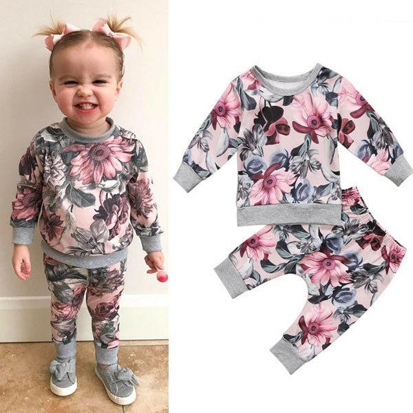 Meninas Imprimir Roupa Set Fashion Girl criança crianças de bebê Outfits longa T-shirt de manga Tops + calças Roupa Definir 0-24 meses