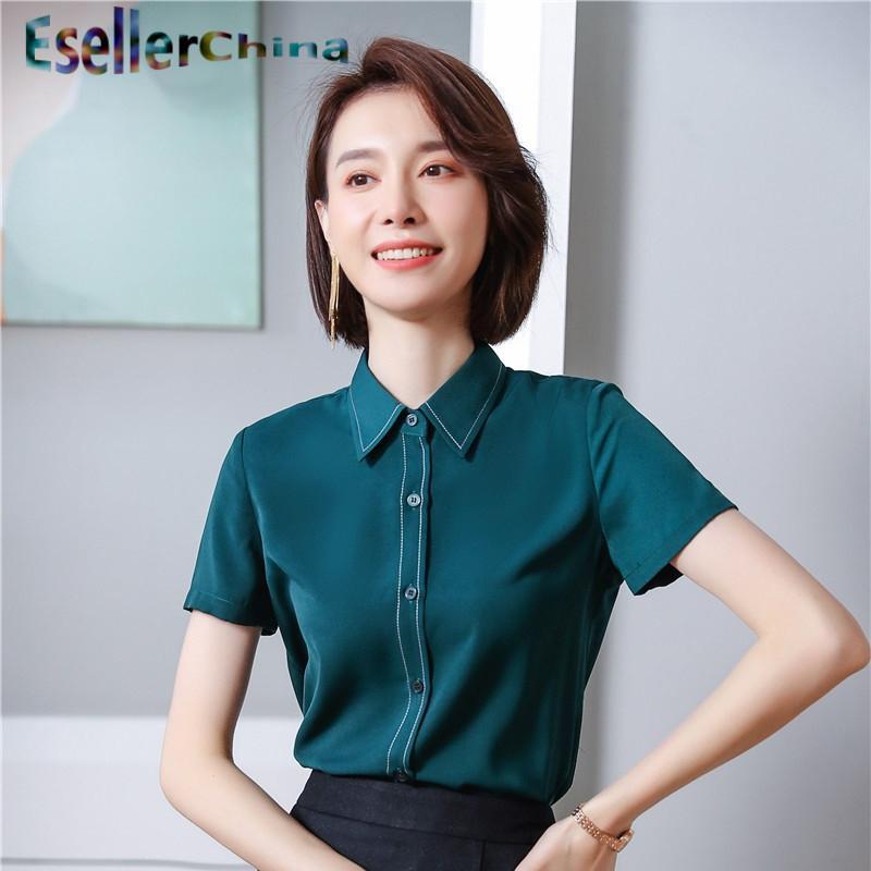 여성 블라우스 셔츠 숙녀 사무실 작업 착용 2021 여름 짧은 소매 스타일 블라우스 비즈니스 여성 탑 검은 녹색