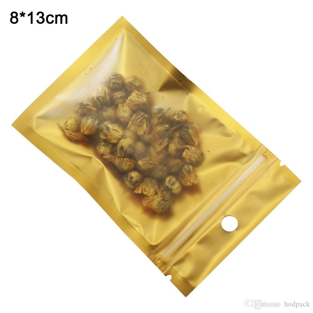 8x13cm Gold-Reißverschluss-Verschluss-Plastiktaschen Resealable Matte / Clear Proof Lagerung Zipper-Beutel mit Fall-Loch-100pcs Getrocknete Speise Süßigkeit Geruch / lot