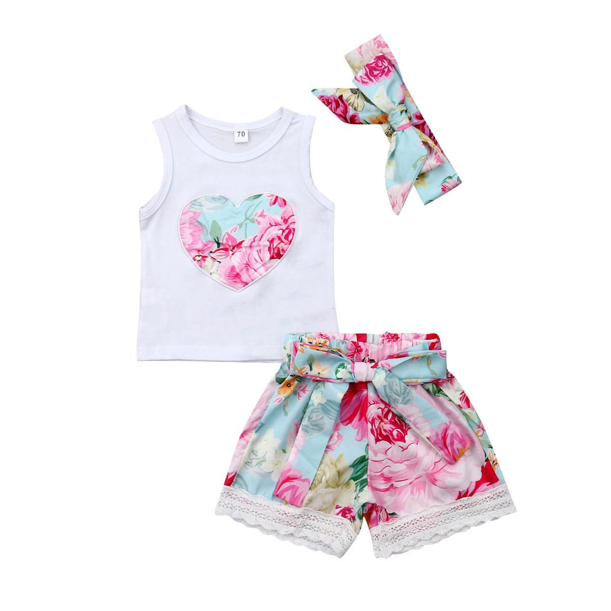 2019 новый стиль летние дети детская мода девушка одежда цветочные топы + шорты + оголовье наряд Sunsuit Set 3 шт.