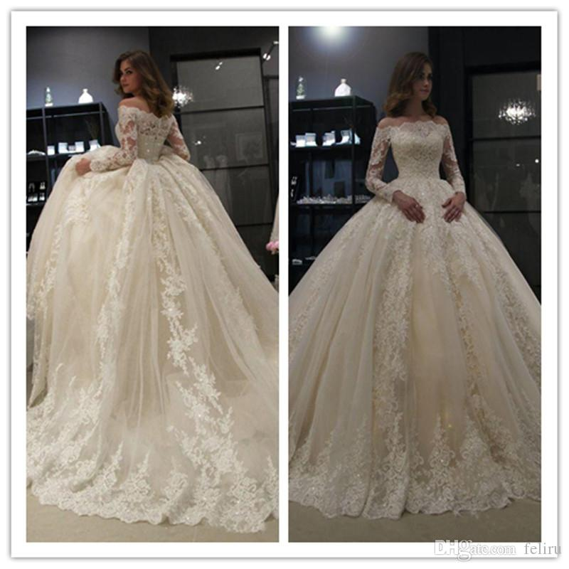 Off the Shoulder Long Sleeve Ball Gown Wedding Dresses 2019 robe de mariee Bead Lace Corset Wedding Dress Bridal Gowns vestidos de noiva