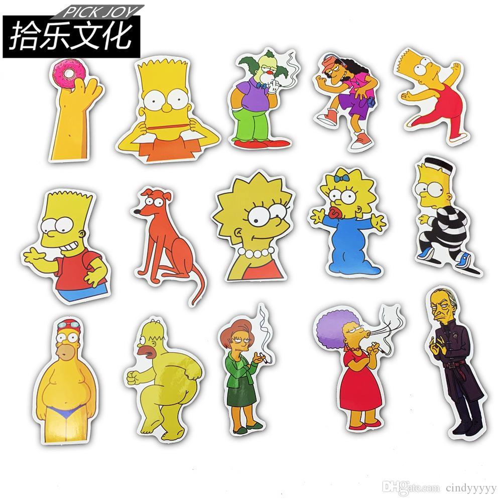 50 pcs / lot voiture Autocollants famille Simpson Cartoon pour ordinateur portable Planche à roulettes Tapis de vélos moto PS4 téléphone bagages Decal Pvc guitare Autocollants