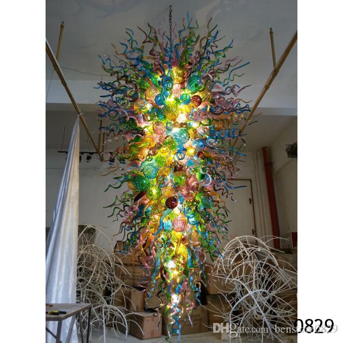 Blooming de lujo hecho a mano de cristal soplado Lámparas de Big AC110V a 240V arte de la decoración de cristal de Murano de iluminación Lámparas para Hotel Vestíbulo Decoración