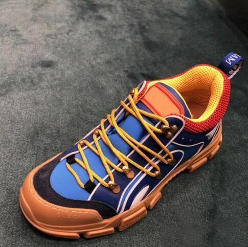 Caldo del cuoio di vendita-sneaker Rhyton Vintage Trainer con la bocca di stampa Strawberry Tiger Web mens pattini casuali delle donne dimensioni oversize scarpe da tennis 35-46