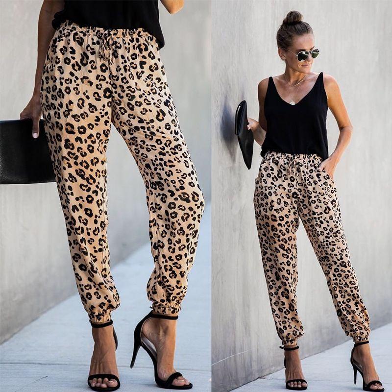 2019 Art und Weise Frauen neue Art und Weise gedruckte Hosen mit Kordelzug Leg Leopard beiläufige elastische mittleren Taillen-Bleistift-Hosen lose Laterne Weibliche Hose