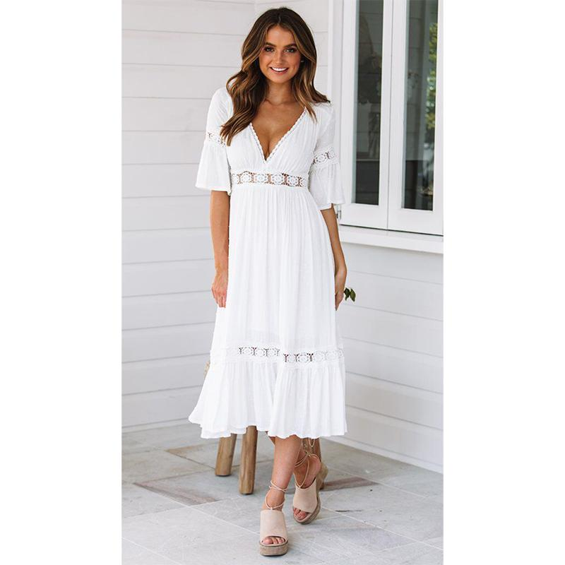 Grosshandel Grosshandel 2019 Sommer Frauen Weiss Maxi Dress Sommerkleid Sexy Spitze Hakeln Lange Tunika Strand Dress Von Bclothes001 32 29 Auf De Dhgate Com Dhgate