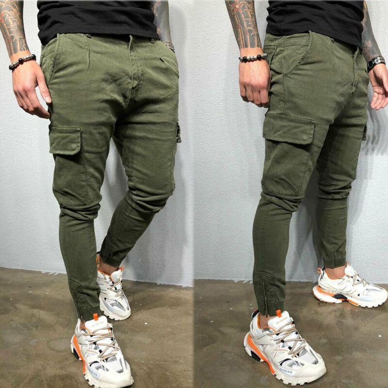 Erkek Pantolon Pantolon Streç Moda Herren Trainingsanzug Spor Salonu Skinny Jogging Jogger Eğitimleri Net