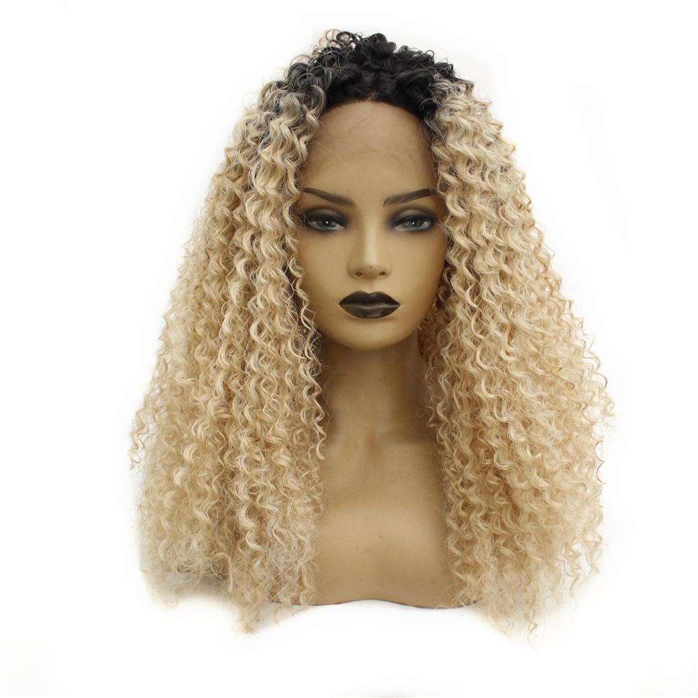 Sentetik Kinky Afro Dantel Peruk Ombre Sarışın Koyu Kökler Tutkalsız Uzun Afro Kinky Kıvırcık Sentetik Dantel Açık Peruk Isıya Dayanıklı Fiber Saç