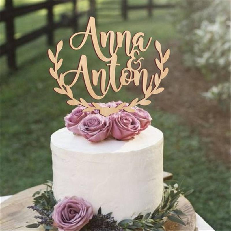 Noms de mariage rustique en bois Topper personnalisés, acrylique forme de gâteau personnalisé Q190606