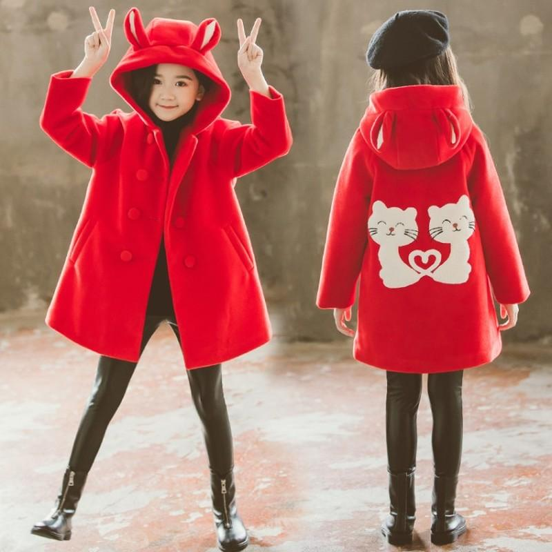 Mädchen-Kleidung Herbst und Winter neue Kinder arbeiten Karikatur starker warme und mittlerer langer Wollmantel Jacken 4-12 Jahr