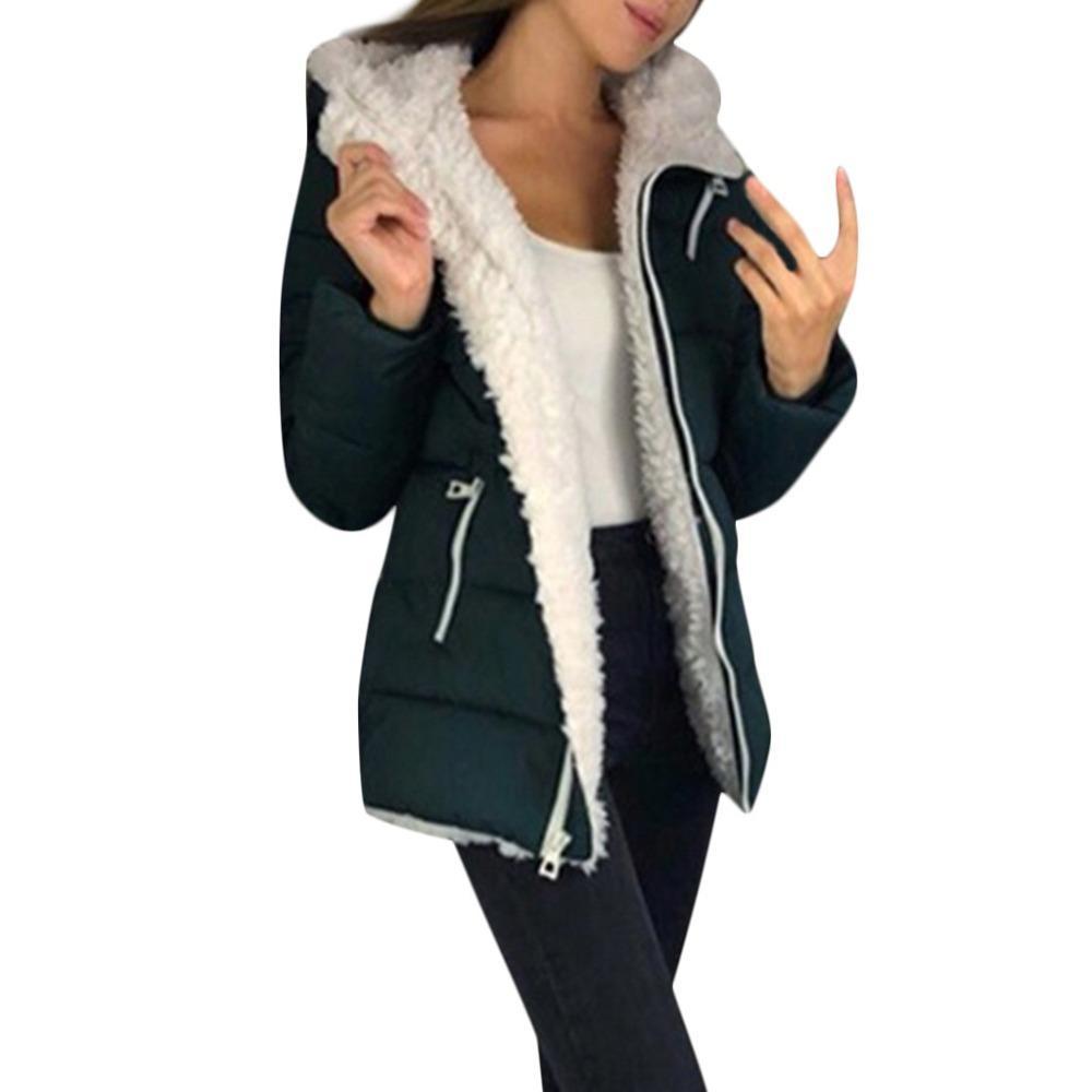 Moda donna inverno addensato cappotti manica lunga giacca calda tuta sportiva cappotto cerniera signora velluto cardigan giacca con cappuccio giacca di cotone